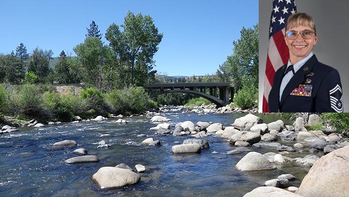 Bio photo of Macomber overlaid on river photo