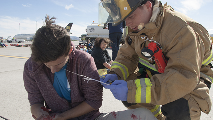 NVANG Fire Fighter performs triage