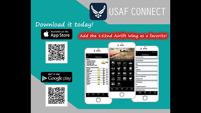 AF Connect App flyer for the 152nd Airlift Wing
